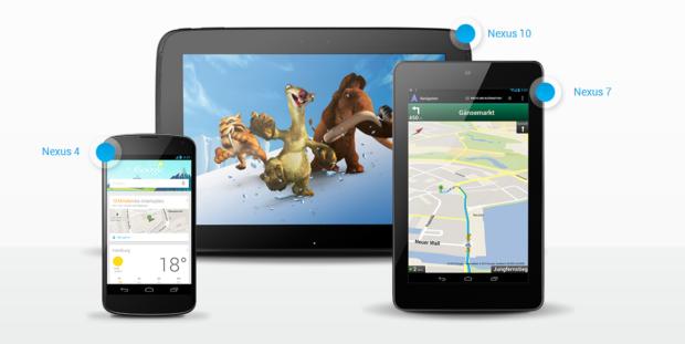Android: Google Nexus 7, Nexus 10 und Nexus 4